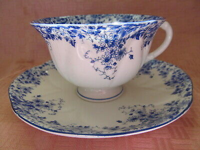 Rare, Shelley Bone China, England, Dainty Blue, Footed Cup & Saucer - Vgc