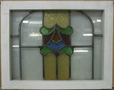 "OLD ENGLISH LEADED STAINED GLASS WINDOW Abstract Tower Design 19.25"" x 15.25"""