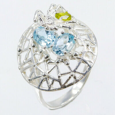 Unique Jewelry Natural Blue Topaz-Amethsyt 925 Sterling Silver Ring RVS25