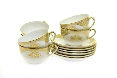 Noritake M White Embossed Gold Teacup Cup & Saucer- Set of 6