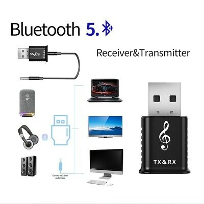 Bluetooth 5.0 Transmitter Receiver Stereo Audio Adapter AUX 3.5mm TV CAR PC