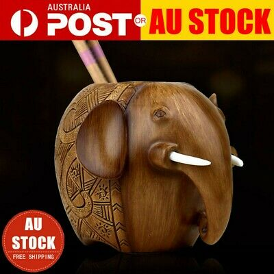 Creativer Wooden Elephant Pen Brush Pencil Case Holder Stationery Wood Box AU
