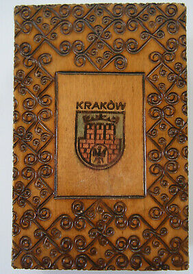 ANTIQUE VINTAGE Polish Pyrography Hand Made Wooden FOLDING MIRROR Hinged Box 4x6