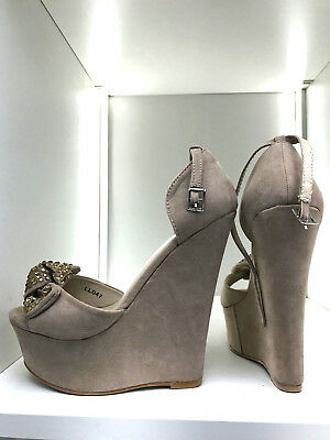 16cm 38 Sexy suede nude beige fetish sky wedge sandals high heels 5cm platform