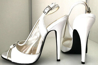 8 37 38 White blanc clear Mules sandals slingback 13 cm Sexy fetish high heels