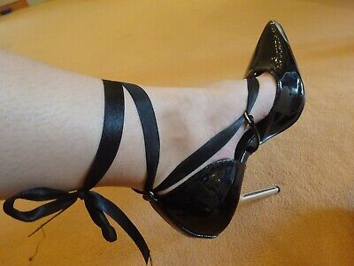 38 39 US 8 patent leather Black pumps HEAT lace 13cm very Sexy fetish high heels