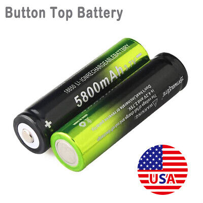 2PC Li-ion 18650 5800mAh 3.7V Rechargeable Battery Cell For Flashlight Torches