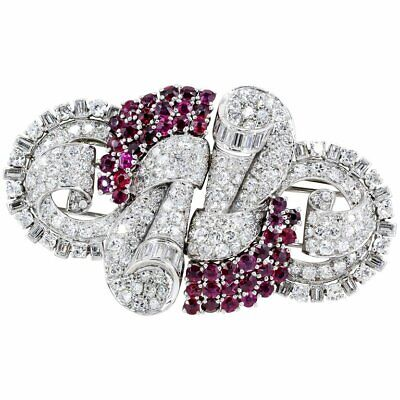 French Art Deco Ruby, Diamond, Platinum and 18K Gold Double Clip Brooch