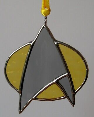 Stained Glass Star Trek Badge , Suncatcher, Handmade in England