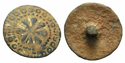 LAC NICE MEDIEVAL BRONZE BOTTON circa XI-XV cent AD 25mm  GILTED A9