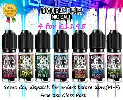 4 x 10ml Vapouriz Double Drip Nic Salts 50/50 All Flavours E Liquid 10mg 20mg