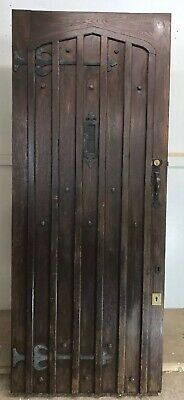 Solid Oak Front Door Antique Period Old Reclaimed Lead Wood Arts Crafts Arched