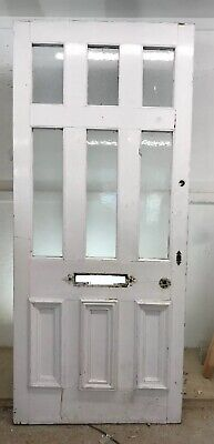 X Large Victorian Front Door Period Old Reclaimed Antique Wood Glazed V Solid