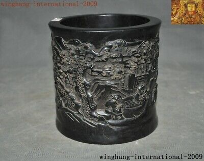 "6""Old China Rosewood Wood Hand-carved Ancient pine Old man Brush pot pencil vase"