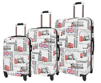 Four Wheel Travel Suitcase London City Print ABS Hard Shell Lightweight Luggage