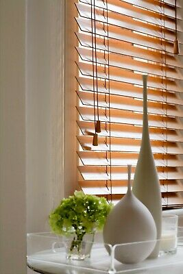 Wood Wooden Venetian Blinds Real Wood Made To Measure 35Mm & 50Mm Sample Only