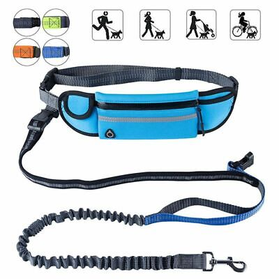 Hands Free Dog Running Leash with Waist Pocket Adjustable Belt Shock Absorbin5V6