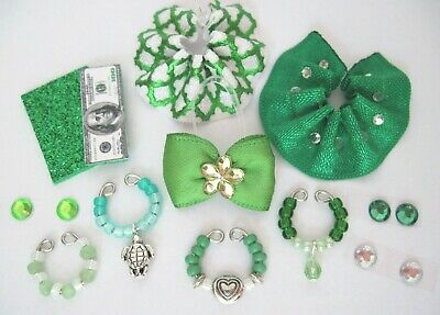 Littlest Pet Shop LPS 12 PC Clothes GREEN Accessories Custom Skirts Bow Necklace