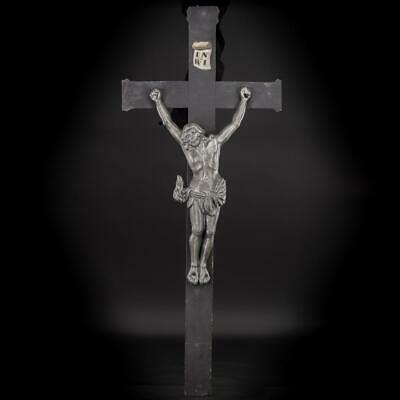Crucifix Wall | Wooden Cross | Cast Iron Jesus Christ 1700s | Corpus Christi 38""