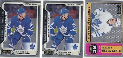 18/19 O PEE CHEE PLATINUM LOT OF (3) ANDREAS JOHNSSON MARQUEE ROOKIE x 2 & RETRO
