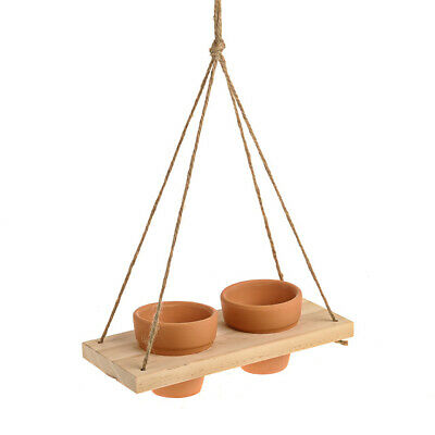 Terracotta Twin Plant Pot Hanging Holder With Rope Decoration Garden Ornament