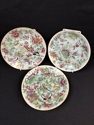 Beautiful Set Of 3 Antique Mid 19th Century Famille Chinese Porcelain Plates