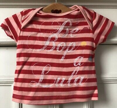 NO ADDED SUGAR Red And Pink Stripe Cotton Be Bop A Lula Top T-Shirt 3m NEW