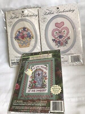 Lot Of 3 Ribbon Embroidery Kits Janlynn Barbara's Garden