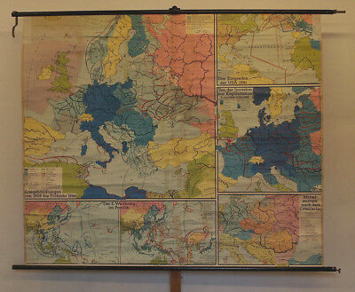 Wall Map WW2 Second Global World War II WWII ~ 1955 197x165 Dr vs 69 States now?