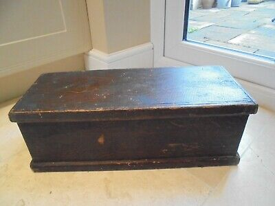 Small vintage rustic tool chest box,2 metal handles, industrial, home made