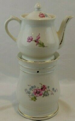 Antique Unmarked Limoges Veilleuse Tisaniere Pastell Flowers