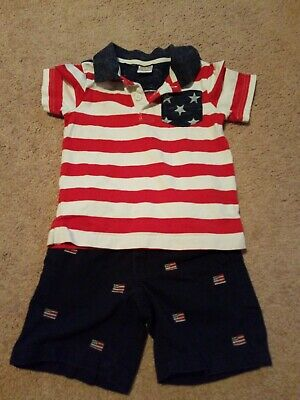 Gymboree Boys 2T Outfit Flags and stars & stripes 4th Of July shorts and polo