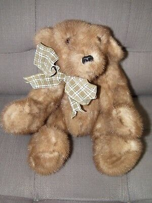 Vintage Recycled Mink Hand Crafted Jointed Teddy Bear Ooak[