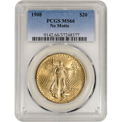 US Gold $20 Saint-Gaudens Double Eagle - PCGS MS66 - 1908 No Motto
