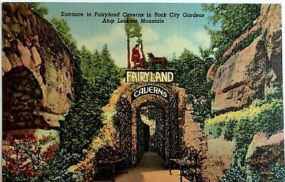 Postcard Entrance to Fairyland Caverns Rock City Gardens Lookout Mountain