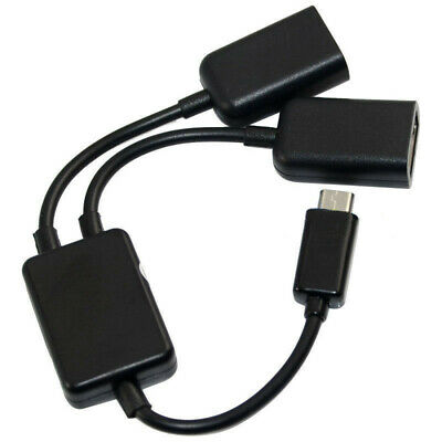 Micro-USB Host Cable,Micro-USB Male to 2X Type A Dual USB Female OTG Adapte B4Z3