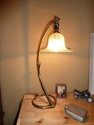 WAS Benson Arts and Crafts / Art Nouveau Lamp and Vaseline Shade