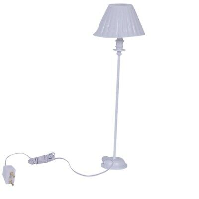 1:12 Dollhouse Miniature Floor Lamp Light (Size: 11.5 cm, Color: White) B7W8