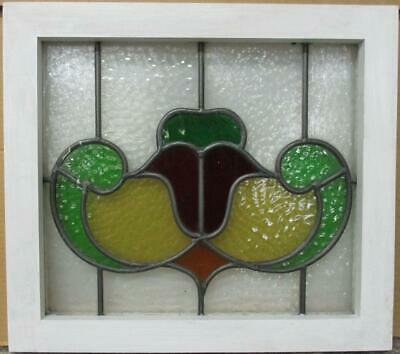 "OLD ENGLISH LEADED STAINED GLASS WINDOW Pretty Abstract Design 17.5"" x 15.75"""