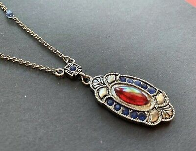 RED ART GLASS & BLUE RHINESTONE VICTORIAN STYLE NECKLACE Art Deco Design Chain