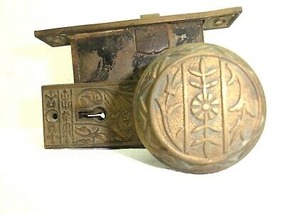 Antique Brass Victorian Door Knob Set w Key Plates & Mortice Lock Architectural