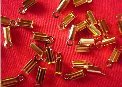 50 Gold Coloured Fold-Over Cord Ends 8mmx3.5mm #3011 Jewellery Making Findings