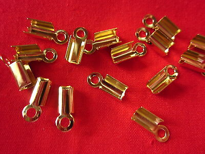 50 Fold-Over Cord Leather Ends 9mmx4mm Gold Coloured #3015 Jewellery Findings