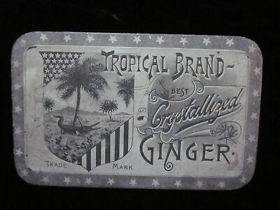 "6"" Antique Tropical Brand Crystallized Ginger Lithographed Tin Advertising Box"