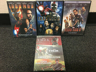 Thor 3-Movie Collection & Iron Man 1 2 3  Trilogy DVDS Bundle Sets Marvel Movie