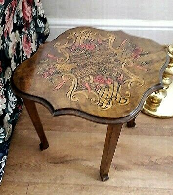 Dainty Victorian Style Wooden Side Table - Poker Work, Flowers & Swags Design