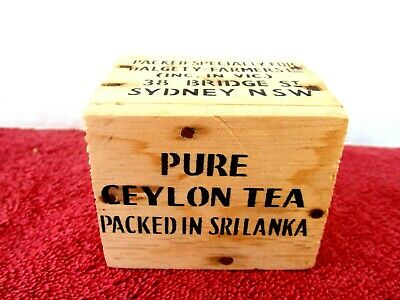 PURE CEYLON TEA  WOODEN  BOX   PACKED FOR DALGETY-FASRMERS  8cm. X 6.5cm. X 7cm.