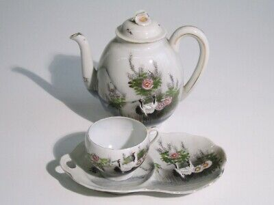 Antique Teapot with Mug & Tray Porcelain Painted Period Xx Century