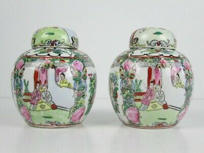 Xx Century Vintage Couple Vases Potiche Porcelain Eastern Painted