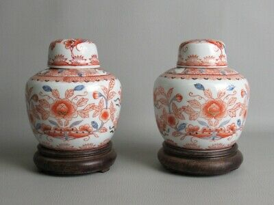 Art Eastern 2 Vases Chinese Porcelain Painted Blossom Rossi on base Wood